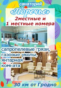 ПОРЕЧЬЕ санаторий, Беларусь. Для лечения применяются Сапропелевые грязи, газовые уколы, янтарная комната и ...... Спешите бронировать !